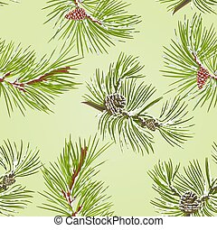 Seamless texture two pine branches with pine cones with snow...