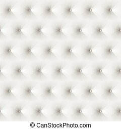 Seamless texture upholstery white leather. 3D effect. Vector  EPS10.