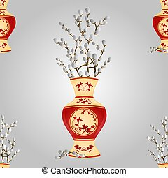 Seamless texture vase with branch
