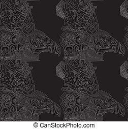 seamless, texture, vecteur, eagles., fond, dessiné, noir