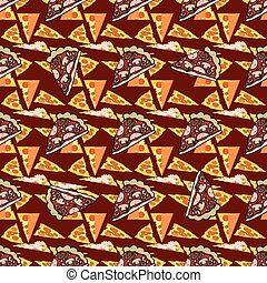 Seamless texture. Vector color image of a pizza. Graphic...