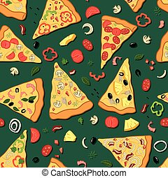 Seamless texture. Vector color image of a pizza.