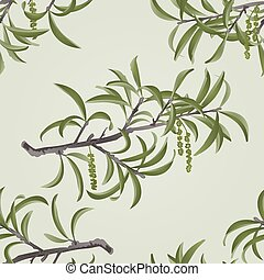 Seamless texture Willow branch with catkins vector.eps