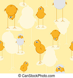 Seamless texture with a chick