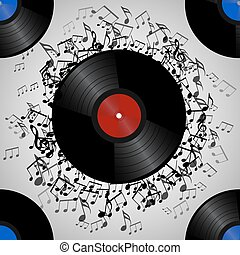 Seamless texture with a vinyl record and music notes. Vector musical pattern for your  creativity