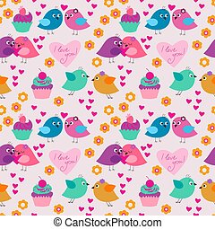 Seamless texture with birds in love and flowers