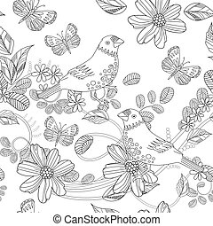 seamless texture with birds on floral twigs for your coloring bo