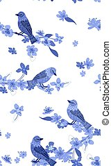 seamless texture with blossom cherry and birds