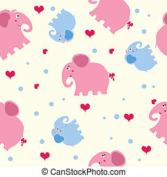 seamless texture with blue and pink elephants