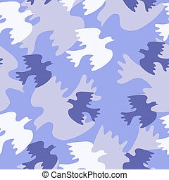 Seamless texture with blue birds