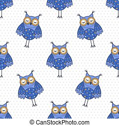 Seamless texture with blue owls
