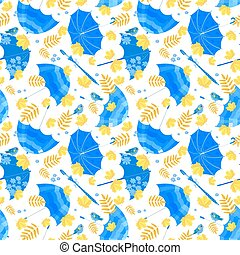 seamless texture with blue umbrellas and fall leaves on white ba