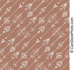 Seamless texture with Boho arrows. Vector background for websites, invitations, scrapbooking and your design