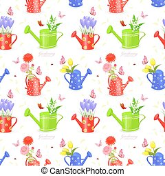 seamless texture with bouquet of flowers in watering cans and bu