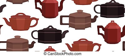 Seamless texture with brewing clay Chinese teapots