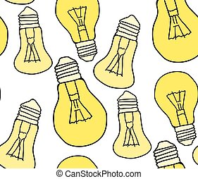 Seamless texture with cartoon bulbs on a white background. Vector pattern for fabrics, wallpaper and your design