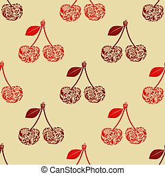 Seamless texture with cherry.