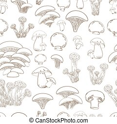 seamless texture with collection of sketch mushrooms for your de