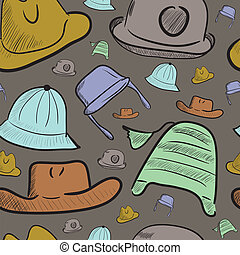 Seamless texture with color caps and hats