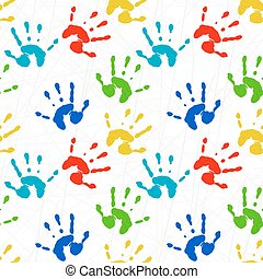 Seamless texture with colorful prints of child palms