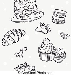 Seamless texture with different baking croissants, cakes, cookies, meringue