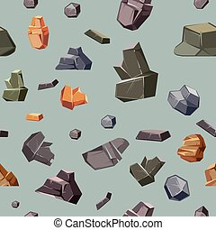 Seamless texture with different colors rocks. Pattern background surface, vector illustration