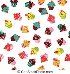 Seamless texture with different cupcakes on white background.