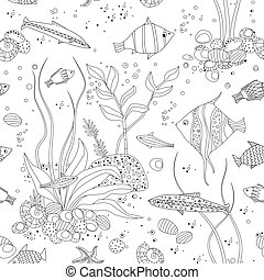 seamless texture with fancy fishes for your coloring book