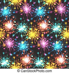 Seamless texture with festive fireworks of hearts. Vector pattern for wrapping paper, fabric and your creativity