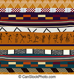 Seamless texture with figures of primitive people. Tribal style
