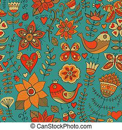 Seamless texture with flowers, bird