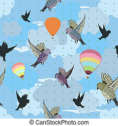 Seamless texture with flying birds