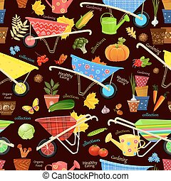 seamless texture with gardening equipment and vegetables