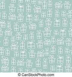 Seamless texture with hand drawn gift boxes with bows and ribbons. Sketch illustration on white background.