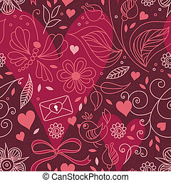 Seamless texture with hearts and flowers.