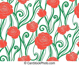 Seamless texture with intertwined vines and roses. Vector background for your creativity