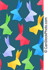 Seamless texture with multicolored origami hares on dark background