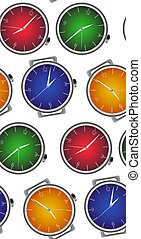 Seamless texture with multicolored realistic clock