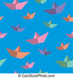 seamless texture with paper boats