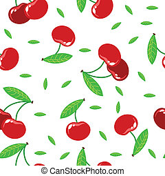 seamless texture with red cherries
