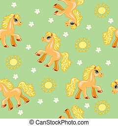 seamless texture with red pony, suns and flowers on a green...