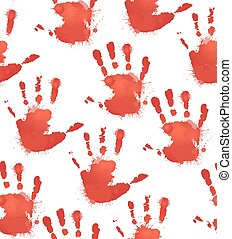 Seamless texture with red prints of children's hands and splashes of watercolor. Vector pattern for your creativity