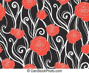 Seamless texture with roses and vines on a dark background. Vector background for scrapbooking and your creativity