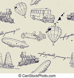 Seamless texture with set of vintage transport. Vector...