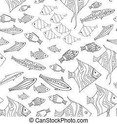 seamless texture with shoal of fishes for your coloring book