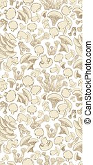 seamless texture with sketch edible mushrooms for your design