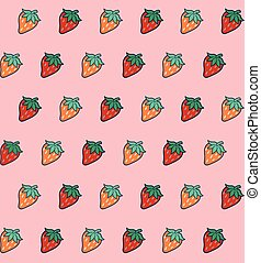 Seamless texture with strawberries.