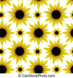 Seamless texture with sunflowers