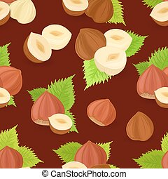 seamless texture with sweet filberts and leaves on brown backgro