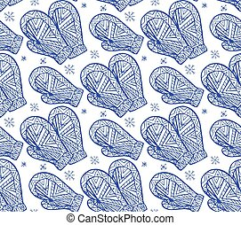 Seamless texture with the contour of winter mittens with Boho pattern. Vector background for your creativity